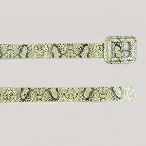 Cinto Feminino Estampado Animal Print Com Fivela Encapada Verde