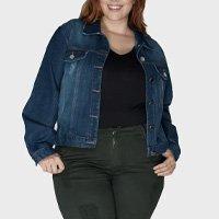 jaqueta jeans plus size - azul-48