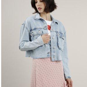 Jaqueta Jeans Feminina Cropped Com Bolsos Azul Claro