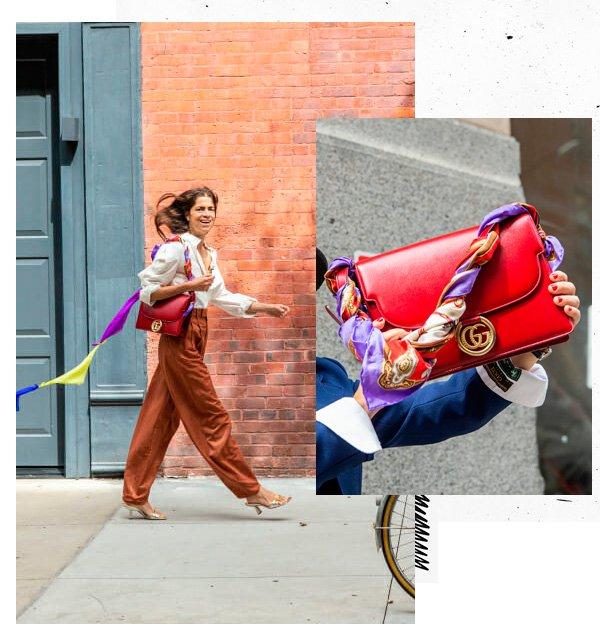 Leandra Medine - bolsa - lenço - verão - street-style