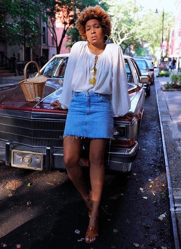 it-girl - bata-e-saia-jeans - minissaia - verão - street-style