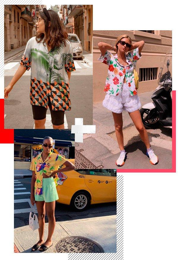 Anum Bashir, Emili Sindlev, Chrissy Rutherford - camisa-havaiana - floral - verão - street-style