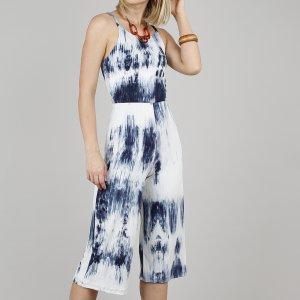 Macacão Feminino Pantacourt Canelado Estampado Tie Dye Alça Fina Azul Marinho