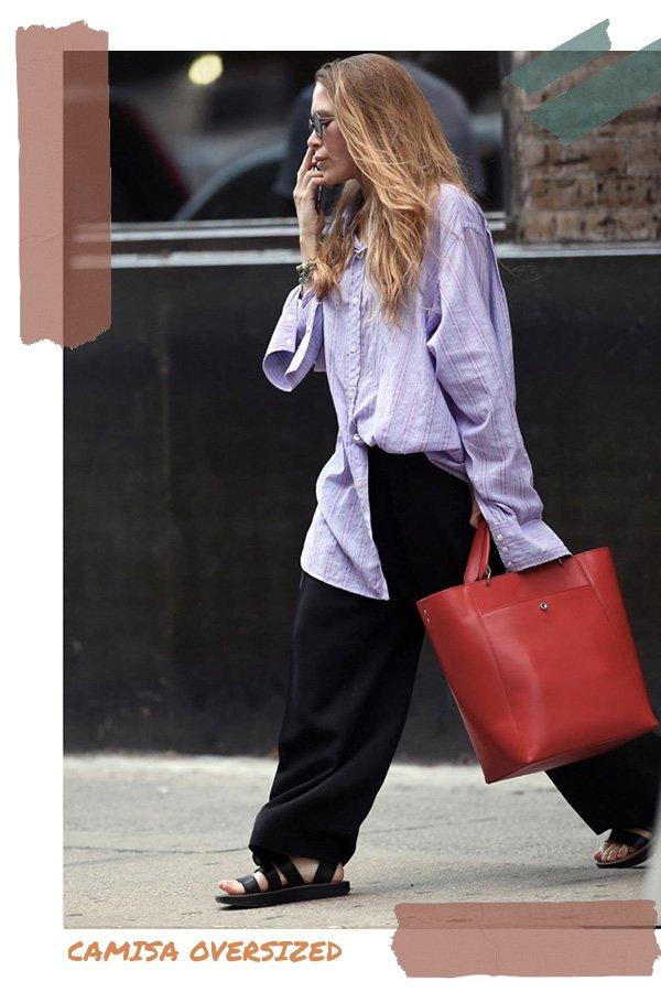 Mary-Kate Olsen -      - camisa oversize - verão - street style