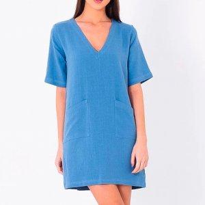 Vestido Decote V Com Bolso Azul - P Azul