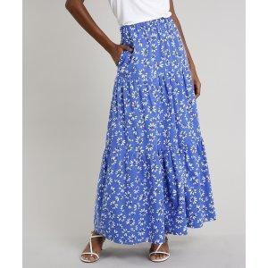 Saia Feminina Mindset Longa Estampada Floral Com Bolsos Azul