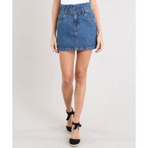 Saia Jeans Feminina Curta Com Babado Azul Médio