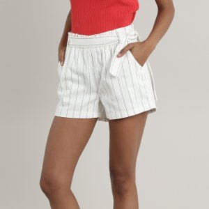 Short Feminino Clochard Listrado Com Bolsos Off White