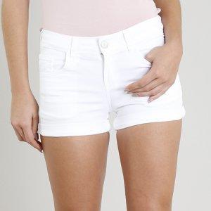 Short Feminino Reto Com Bolsos E Barra Dobrada Branco