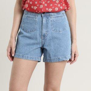 Short Jeans Feminino Com Bolsos Azul Claro