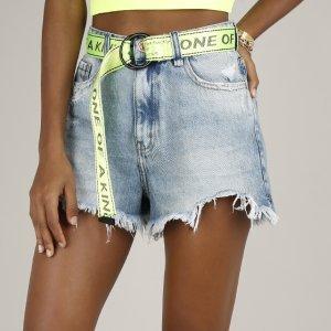 Short Jeans Feminino Com Rasgos Cintura Alta Azul Médio