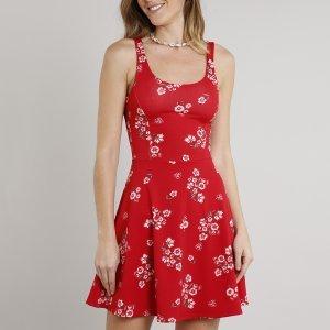 Vestido Feminino Curto Evasê Estampado Floral Sem Manga Vermelho