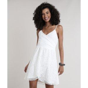 Vestido Feminino Em Renda Transpassado Alças Finas Decote V Off White