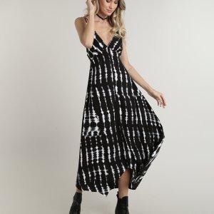 Vestido Feminino Midi Assimétrico Estampado Tie Dye Alças Finas Preto