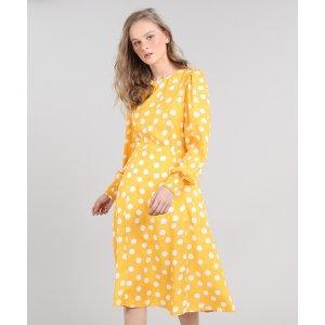 Vestido Feminino Midi Mindset Estampado De Poá Manga Longa Amarelo