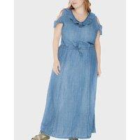 vestido longo com babado plus size - azul-48