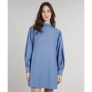 Vestido Jeans Feminino Mindset Ampla Manga Bufante Gola Alta Azul Médio