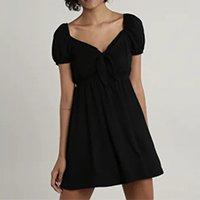 vestido feminino curto com nó manga bufante preto - gg