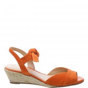 Sandália Arezzo Anabela Nobuck Lace Up Orange Tango | Outstore