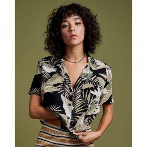 Camisa Manga Curta Gen Wow Fem Verde Estampado - P