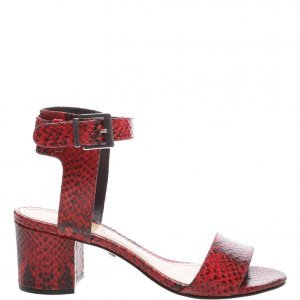Sandã¡lia Schutz Edgy Block Heel Python Red | Outstore