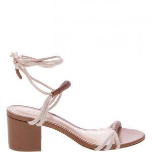 Sandália Schutz Minimal Block Heel Com Amarração Wood | Outstore