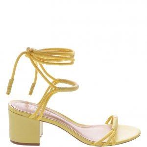 Sandália Schutz Minimal Block Heel Com Amarração Yellow | Outstore