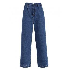Calça Jeans Wide Com Prega Frontal