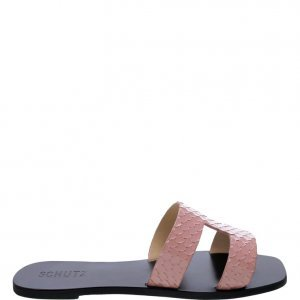 Flat Schutz Slide Croco Neutral | Outstore