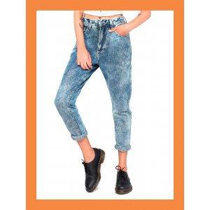 Calça Mom Jeans Acid - 40 Azul