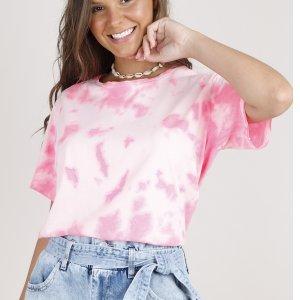 Blusa Feminina Cropped Ampla Estampada Tie Dye Manga Curta Decote Redondo Rosa Claro