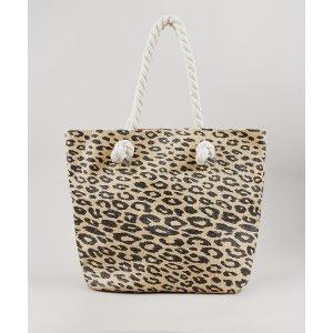 Bolsa Feminina Shopper Grande Estampada Animal Print Onça Com Palha Bege