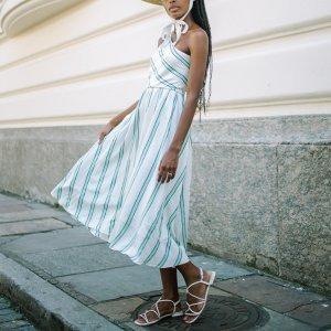 Vestido Bossa Listras Turquesa - Pp Branco