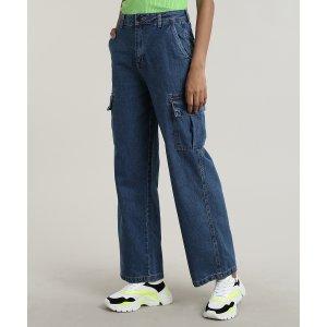 Calça Jeans Feminina Cargo Com Bolsos Azul Escuro