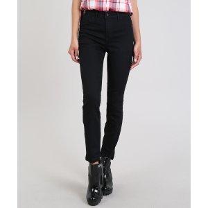 Calça Jeans Feminina Cigarrete Com Cintura Alta Preta