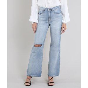 Calça Jeans Feminina Mindset Reta Com Rasgo Azul Claro