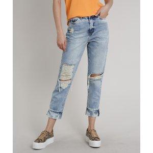 Calça Jeans Feminina Mom Cropped Destroyed Azul Claro