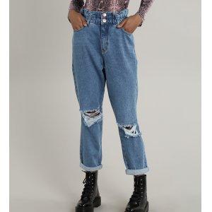 Calça Jeans Feminina Mom Destroyed Azul Médio