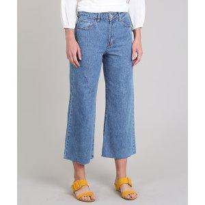 Calça Jeans Feminina Pantacourt Barra Desfiada Azul Médio