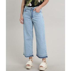 Calça Jeans Feminina Pantacourt Com Bolsos Azul Claro