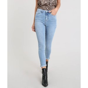 Calça Jeans Feminina Super Skinny Azul Claro