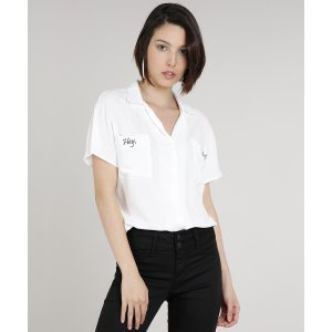 Camisa Feminina Ampla Com Bolso E Borbado