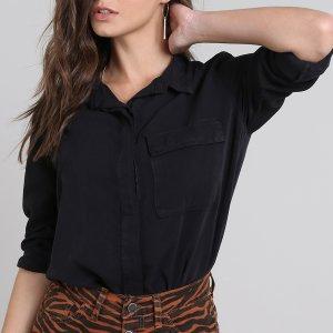 Camisa Feminina Com Bolso Manga Longa Preta