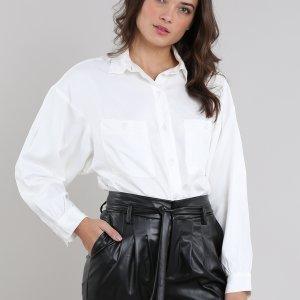 Camisa Feminina Mindset Ampla Com Bolsos Manga Longa Off White