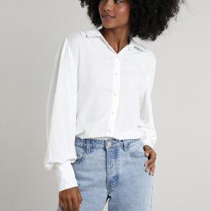 Camisa Feminina Mindset Manga Bufante Off White