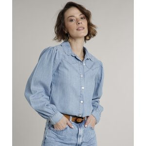 Camisa Jeans Feminina Com Recorte Manga Bufante Azul Claro