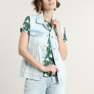 Colete Jeans Feminino Destroyed Azul Claro