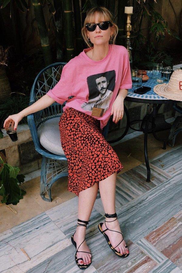 Jeanette Madsen - saia e camiseta - saia slip skirt - verão - street style