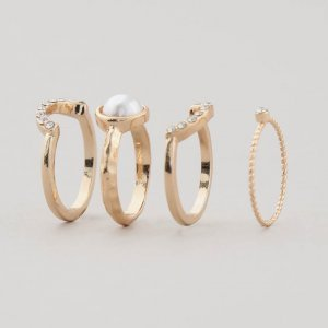 Kit De 4 Anéis Feminino Com Strass Dourado
