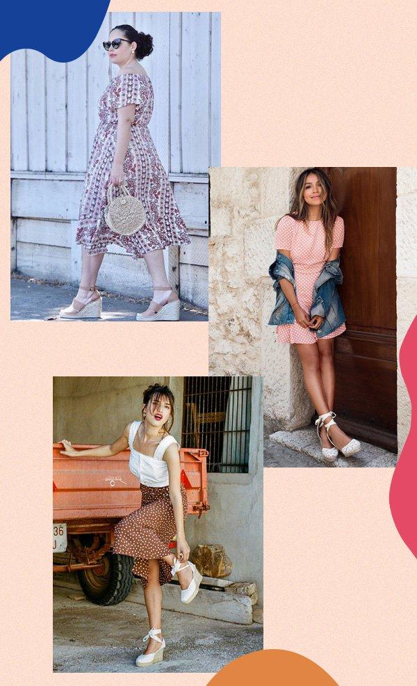Tanesha Awasthi, Julie Sarinana, Jeanne Damas - anabela - sapatos - verão - street-style